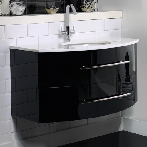 Hudson Reed Crescent Gt Wall Hung Vanity Unit With Granite Top Gloss Black