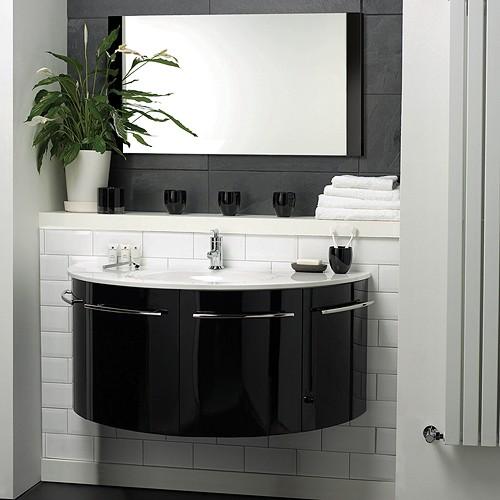 Larger Image Of Hudson Reed Moon Wall Hung Furniture Set High Gloss Black