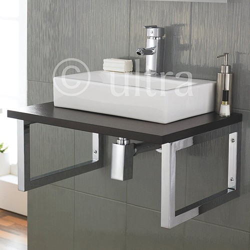 Ultra Vanity Sets > Vanity Shelf & Rectangular Basin 600mm (Ebony ...