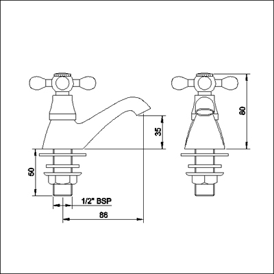 Technical image of Viscount Basin Taps (Pair, Antique Gold, Special Order)