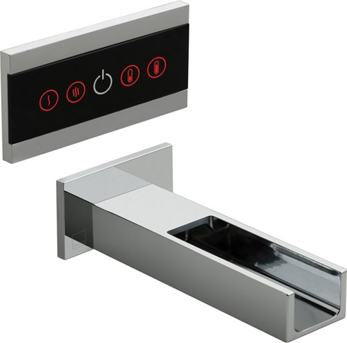 Larger image of Vado Identity LED Wall Mounted Waterfall Basin Tap With Control Panel.