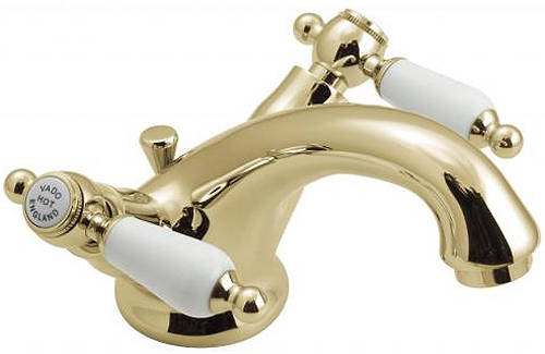 Example image of Vado Kensington Basin Mixer & Wall Mounted BSM Tap Pack (Gold & White).