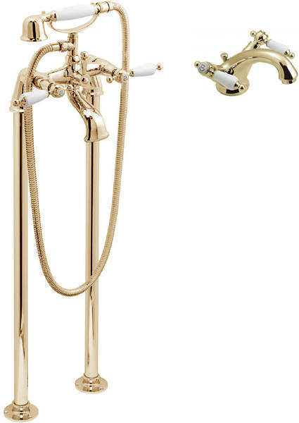 Larger image of Vado Kensington Basin Mixer & Floorstanding BSM Tap Pack (Gold & White).