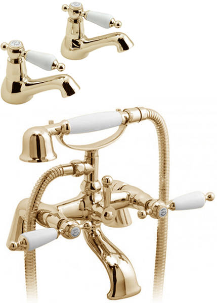 Larger image of Vado Kensington Pillar Basin & Bath Shower Mixer Tap Pack (Gold & White).