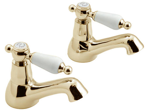 Example image of Vado Kensington Pillar Basin & Bath Shower Mixer Tap Pack (Gold & White).