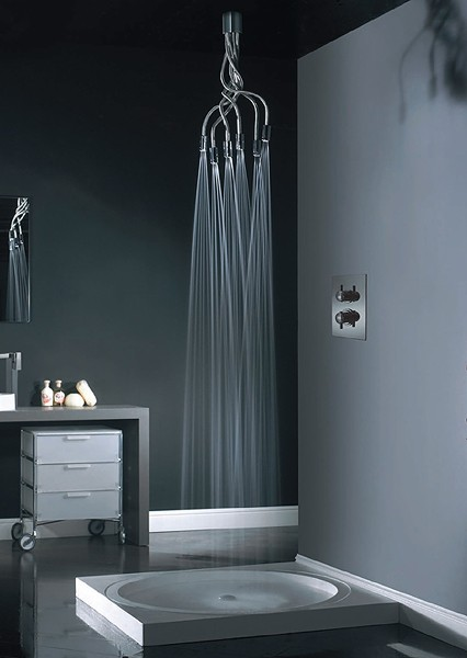 Example image of Vado Shower Sculpture Shower Head. Adjustable, Wall Or Ceiling Mounted.