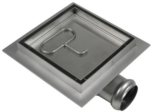 Larger image of Waterworld Stainless Steel Wetroom Tile Drain With Frame. 100x100mm.